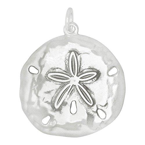 Sterling Silver Medium Size Sand Dollar Charm Pendant (24 x 22 mm)