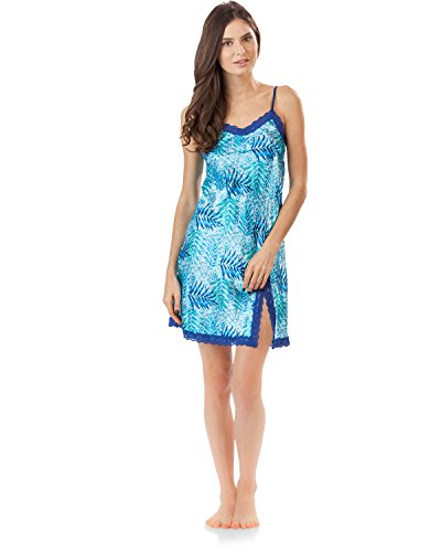(Ashford & Brooks Women's Satin Lace Trim Chemise Nightie - Tropical Aztec - Large)