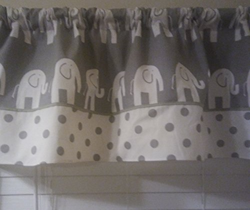 Grey with white elephants Polka dots on the bottom curtain valance,Baby nursery bedroom window treatment, boy or girl ,Sage green pipping neutral gender.
