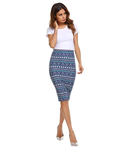 Zeagoo Women's Print Stretchy Bodycon Pencil Skirt With Elastic Waist (Pencil Fur Skirt)