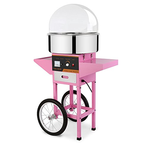 Mophorn Electric Cotton Candy Machine with Bubble Shield and Cart Commercial Cotton Candy Machine Kit 110V Perfect for Various Parties (Cotton Candy Machine with Bubble Shield and Cart) by Mophorn