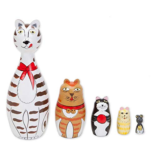 "Bits and Pieces - ""Cleo & Friends Nesting Cats-Hand Painted Wooden Nesting Dolls Matryoshka - Set of 5 Dolls from 7"" Tall with Gift Box"