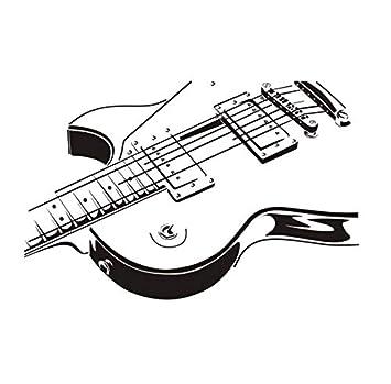 xlei Animales Guitarra Eléctrica DIY Pegatinas De Pared Ahueca hacia Fuera El Diseño Sala De Estar Decoración De Fondo Mural Decal Vinilo Adhesivo ...