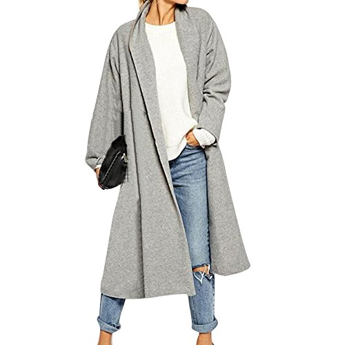 JESPER Womens Swing Open Front Trench Coat Long Cloak Jackets Waterfall Blended Cardigan Grey