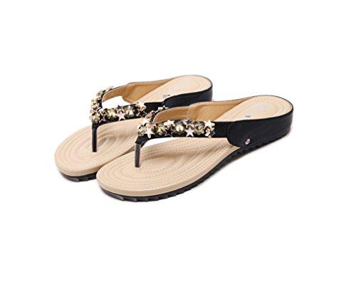 de Femmes Plates Pantoufles Nouveaux Mou Chaussures Fond Couleur Les Sandales ZHHZZ de LIANGXIE Noir des l'été Unie Perlée 6ztwAc