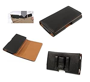 DFV mobile - Case belt loop synthetic leather horizontal premium for => Spice Mi-504 Smart Flo Mettle 5X > Black