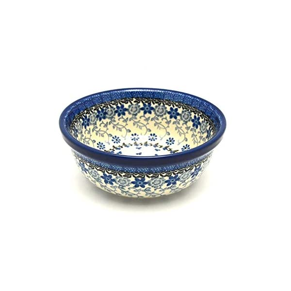 Polish Pottery Bowl – Soup and Salad – Silver Lace