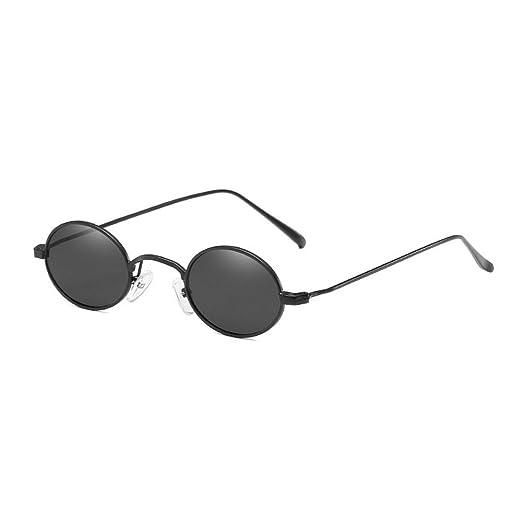 01231907fa MINCL Small Oval Shaped Sunglasses Womens Mens Fashion Vintage Chic Designer  Eyewear UV400 (black