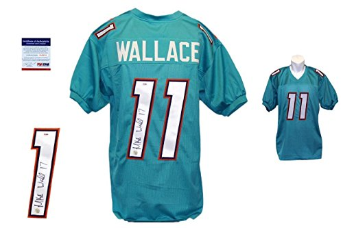 Autographed Mike Wallace Jersey - Teal Miami Dolphins - PSA/DNA Certified - Autographed NFL Jerseys