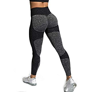 Zarjar High Waisted Sports Leggings for Women, Seamless Tight Yoga Workout Pants Light Black L