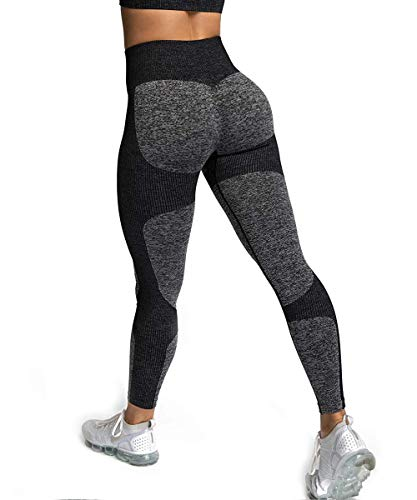 Zarjar High Waisted Sports Leggings for Women, Seamless Tight Yoga Workout Pants Light Forest Black S (For Gym Clothes Women)