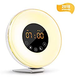 Wake Up Light Alarm Clock with Sunrise Simulation, Digital LED Alarm Clock with 6 Natural Sounds, FM Radio, 7 Colors Light, 10 Levels Brightness, Snooze Function for Heavy Sleepers and Best Gift