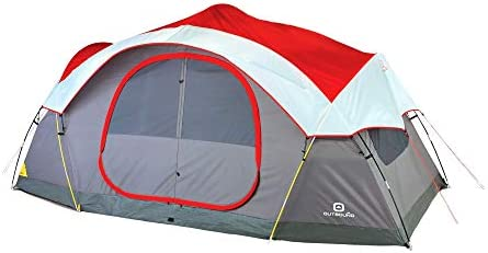 Outbound 8-Person Dome Tent for Camping with Carry Bag and Rainfly Easy Up Water Resistant 3 Season Red