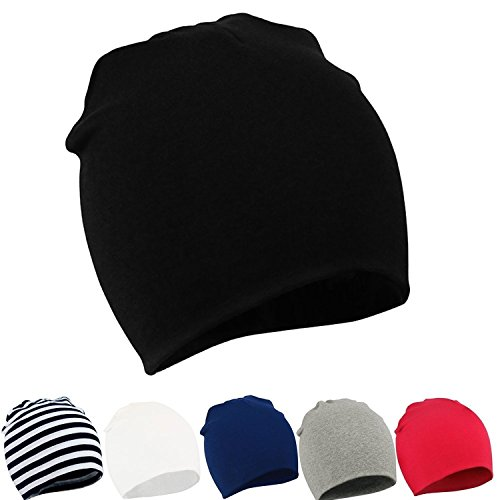 (Century Star Unisex Lovely Cotton Beanie Hats for Cute Baby Boy/Girl Soft Toddler Infant Cap F 6P- Black/White/Stripe/Red/Grey/Navy Blue)