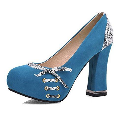 Damen Rund Zehe Hoher Absatz Gemischte Farbe Ziehen auf Pumps Schuhe, Blau, 33 VogueZone009