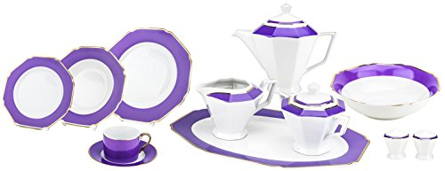 Porcelain Place Setting - Majestic Porcelain G1636F 49-Piece Dinner Set, Octagon-Shaped Gold-Plated Lavender Accent Place Setting, White Porcelain Dinnerware Set, Service for 8