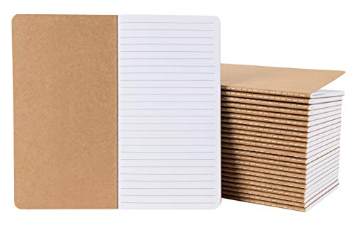 Kraft Notebook Cover - Kraft Notebook - 24-Pack Lined Notebook Journals, Pocket Journal for Travelers, Diary, Notes - H5 Size, Soft Cover Sewn Notebook, Brown, 4.3 x 8.2 Inches