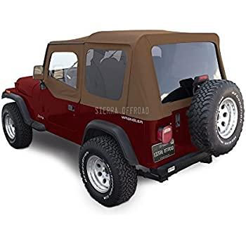 Sierra Offroad Jeep Wrangler YJ (1988-95) Factory Style Soft Top with Tinted Windows, with Upper Doors Spice Sailcloth