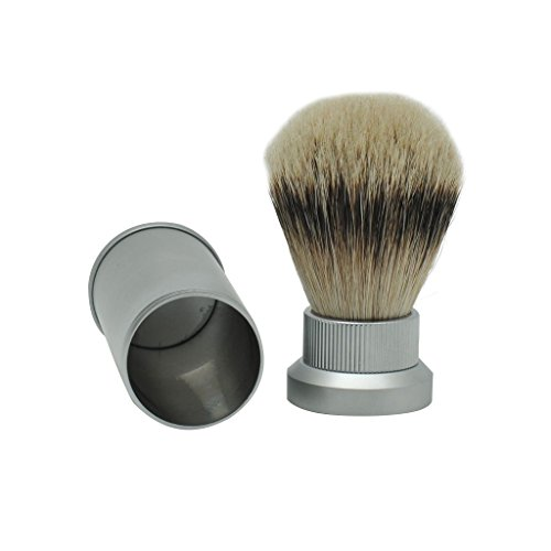 - Mini Size Portable Silvertip Badger Hair Travel Shaving Brush with Frosted Aluminum Tube
