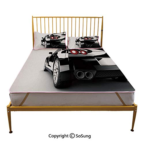 - Cars Creative Queen Size Summer Cool Mat,Rear View of A Modern Automobile with Wealthy Car Objects and Properties Fast Wheel Photo Sleeping & Play Cool Mat,Black