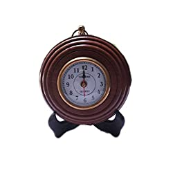 Hind Handicrafts Antique-Look Brown Round Wall Hanging Retro Clock Round Chandelier Wall Hanging Clock Wall Mount Home Décor Wall Clock (3 Inch)