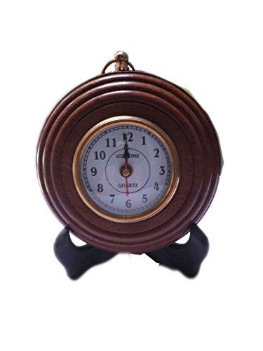Hind Handicrafts Antique-Look Brown Round Wall Hanging Retro Clock Round Chandelier Wall Hanging Clock Wall Mount Home Décor Wall Clock (3 - Clock Shelf Ansonia
