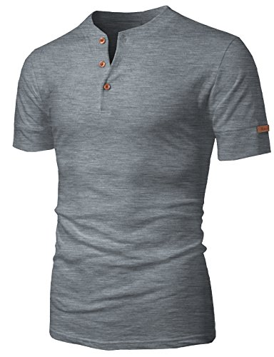 (H2H Mens Casual Daily Slim Fit Henley Leather Label Short Sleeve T-Shirt Gray US S/Asia L (KMTTS0470) )
