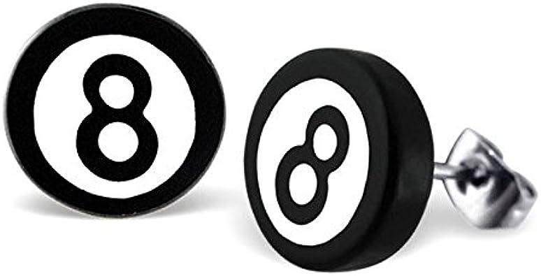 Retro Mágico Plástico del Billar 8-Ball Pendientes de Botón ...