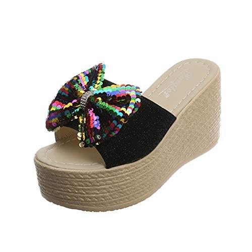 LIM&Shop Graduation Day 2019 Sale Platform Wedge Rhinestone T-Strap Sundress Flip Flop Sandals for Women Wedge Sandal