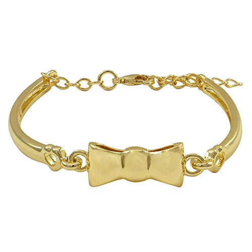 Ivy and Max Gold Finish Bow Girls Bangle Bracelet (5.5