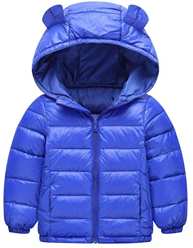 Etecredpow Boy Quilted Down Zip Hoodid Lightweight Solid Jacket Parka Coat Blue 4T by Etecredpow