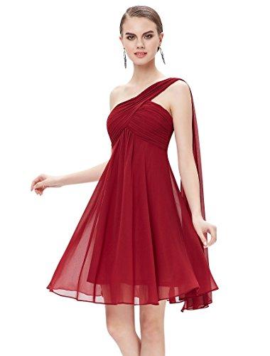 Ever Pretty Juniors One Shoulder Empire Waist Short Prom Dress 10 US Burgundy