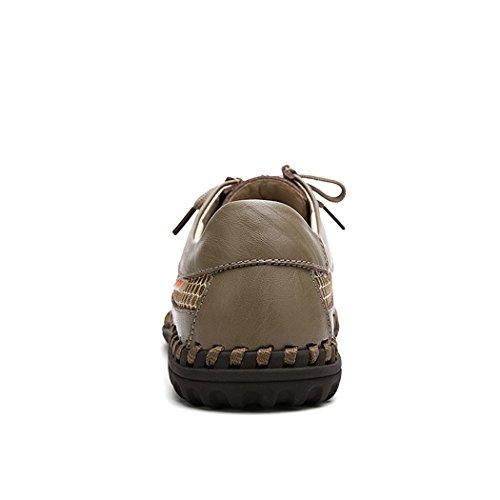 Breathable Hiking Shoes Summer Khaki Mixed Men's Mesh Leahter Handmade qvxBSH
