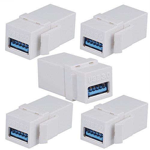 BATIGE 5-Pack USB 3.0 Keystone Jack Female Coupler Insert Snap-in Connector Socket Adapter Port for Wall Plate Outlet Panel