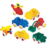 "Viking Little Chubbies Primary Set - 7 Colorful 2.75"" Vehicles (Tractor, Jeep, Plane, Helicopter,Truck and 2 Cars)"