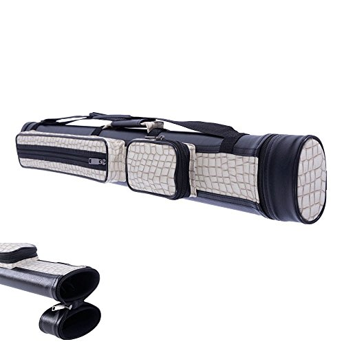 Case Hard Pool Cue Tube (New 2X2 Hard Tube Pool Cue Billiard Stick Carrying Case Gray White 1/2 4Holes)