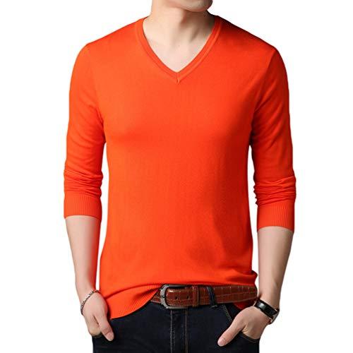 collo Lunga Pullover Yuanu Casual Maglia Arancione Sweater Maglione Solido Colore Manica V Slim Business Autunno Uomo z6zqf4P