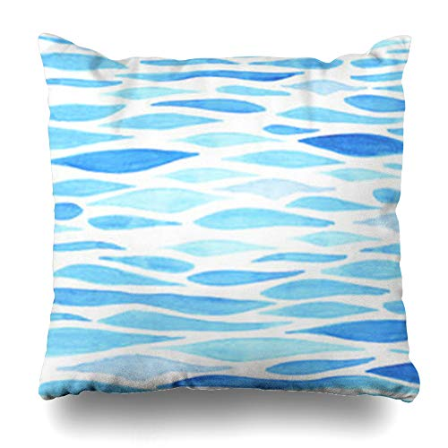 HomeOutlet Throw Pillow Cover Underwater Blue Ocean Watercolor Sea Made Parks Water Art Wave Tropical Surf Landscapebackgrounds Pillowcase Square Size 16 x 16 Inches Home Decor Sofa Cushion - Park Sofa Place Velvet
