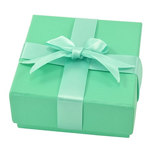 Paialco Jewelry Package Paper Gift Box Green Ribbon Bow-knot 3 2/5-Inch by 3 2/5-Inch (Box Green Necklace)
