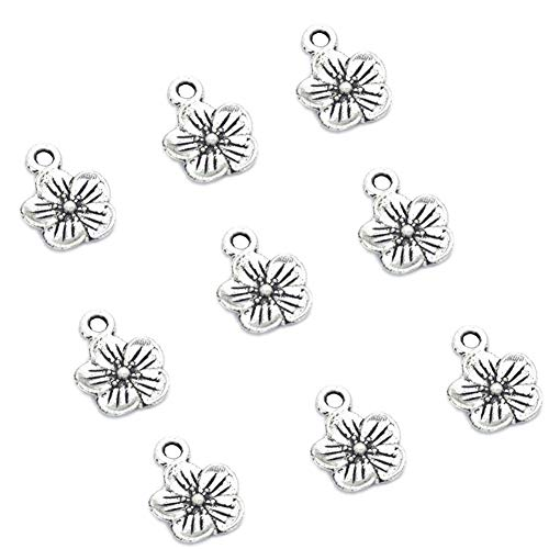 (100pcs Vintage Antique Silver Alloy Small Flower Charms Pendant Jewelry Findings for Jewelry Making Necklace Bracelet DIY 15x11mm (100pcs Flower))