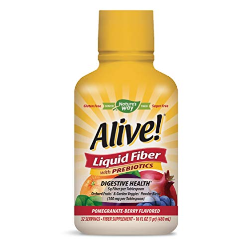Nature's Way Alive! Liquid Fiber w/Prebiotics, 5g Non-GMO Fiber, Pomegranate-Berry Flavor, 16 Oz.