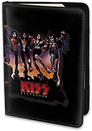 Kiss Band キッス バンド パスポートケース メンズ 男女兼用 パスポートカバー パスポート用カバー パスポートバッグ 小型 携帯便利 シンプル ポーチ 5.5インチ高級PUレザー 家族 国内海外旅行用品