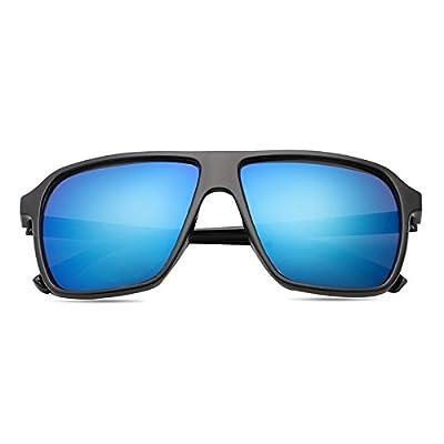 LXKMTYJ Personnalité élégante Lunettes de soleil, crème solaire visage rond Retro Avant-Garde Wild Lunettes élégant Toad, noir et brillant Film bleu