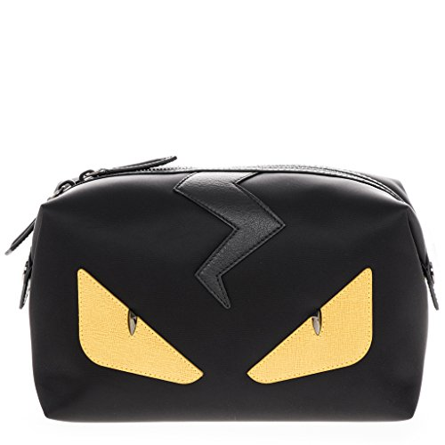 Fendi Men's 'Bags Bugs Eye' Top-Zip Leather Trim Nylon Beauty Case Black