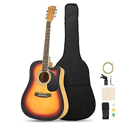 Artall 39/41 Inch Handmade Solid Wood Acoustic Guitar, Cutaway Guitar Beginner Kit with Gig bag, Tuner, Strings, Picks, Strap
