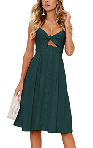 ECOWISH Womens Dresses Summer Tie Front V-Neck Spaghetti Strap Button Down A-Line Backless Swing Midi Dress Cyan Blue L (Best Weekend Trips From Nashville)