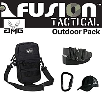 Image of Game Belts & Bags AMG & Fusion Outdoor Pack Black, Great Carry-On Flight Approved Travel Bag, Outdoors, and on The Go, with Belt, Carabiner and Black Cap Included