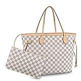 Leather House Woman Handbag Fashion Monogram Color Canvas Tote Shoulder Very Popular Bag Damier MM White(Beige) 40x32x20cm