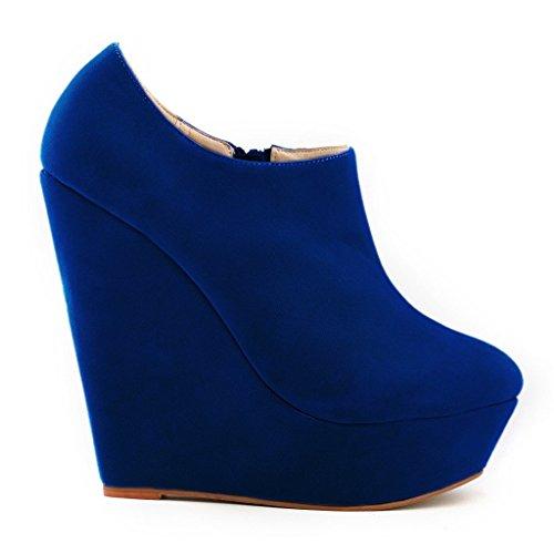 ZriEy Women's Fashion Closed Toe Zipper Faux Suede Wedge High Heel Boot Booties Velvet Blue Size 4 UK MggW68gm