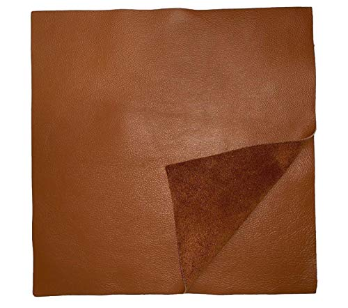 12'' x 12'' Cognac Cowhide: Soft Natural Pebble Grain Leather 2.5-3 oz. Perfect for Handbags, Shoes, Garments, and Leather ()